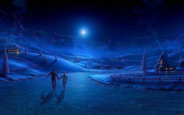 Winter Night In Moonlight Chrome Theme