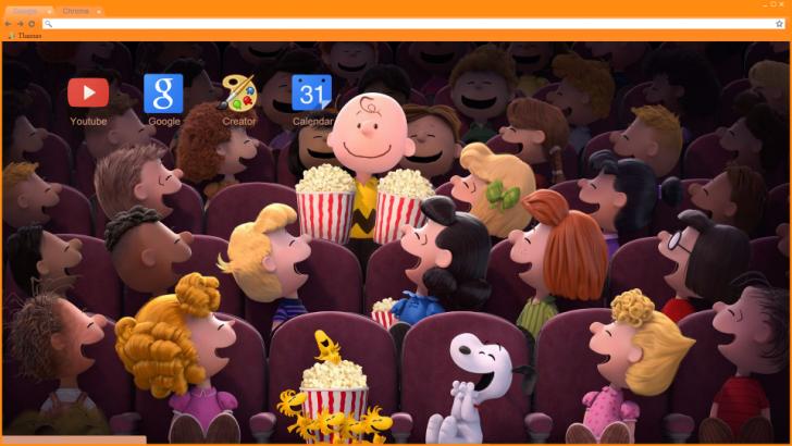 Charlie Brown Movie Theater Chrome Theme