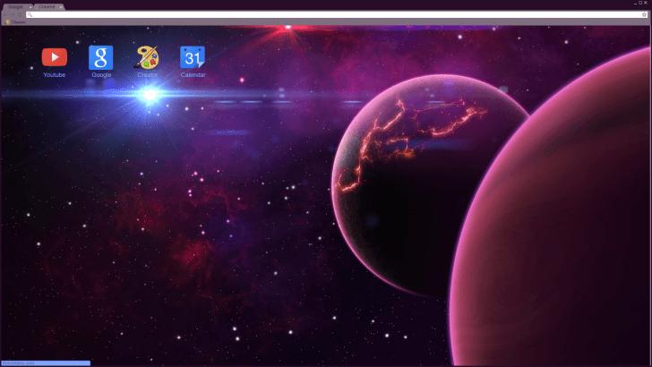 Purple Space Planets Chrome Theme