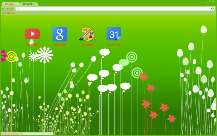 Green Grass And Flowers Chrome Theme
