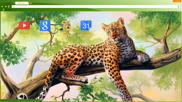 Leopard In A Tree Chrome Theme