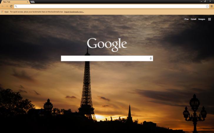 Eiffel Tower Silhouette (France) Chrome Theme
