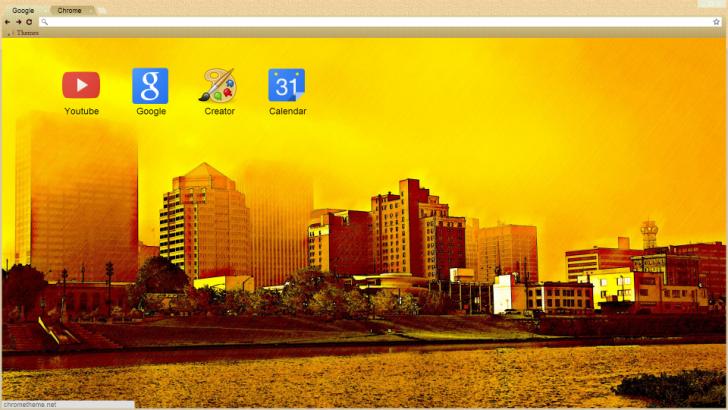 Sunset In City Chrome Theme