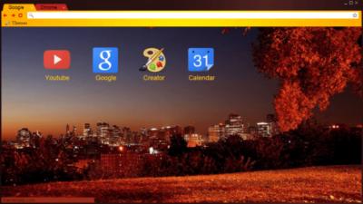 Autumn and the city Chrome Theme
