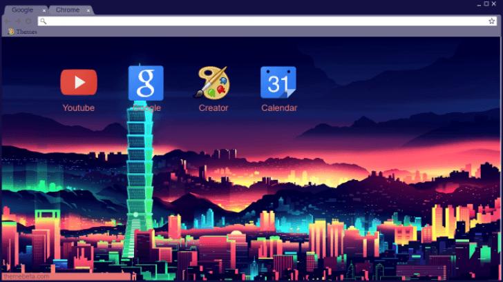 Neon Skyline Chrome Theme